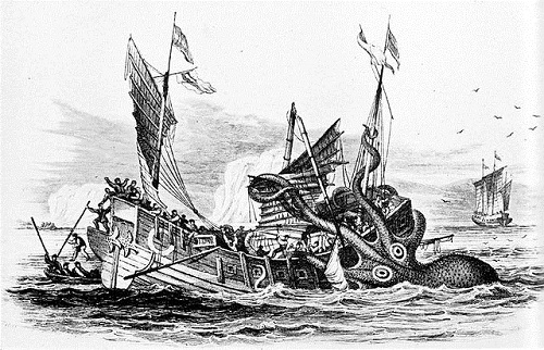 """Poulpe Colossal"" attacks a merchant ship (1810, Pierre Dénys de Montfort)"