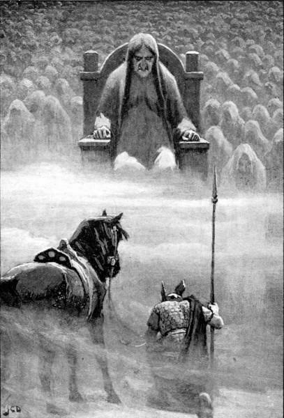 Hermóðr di fronte ad Hel (J.C. Dollman)
